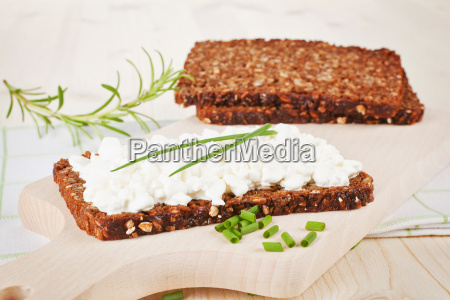 black bread with cottage cheese