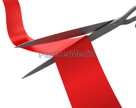 scissors cut the ribbon closeup