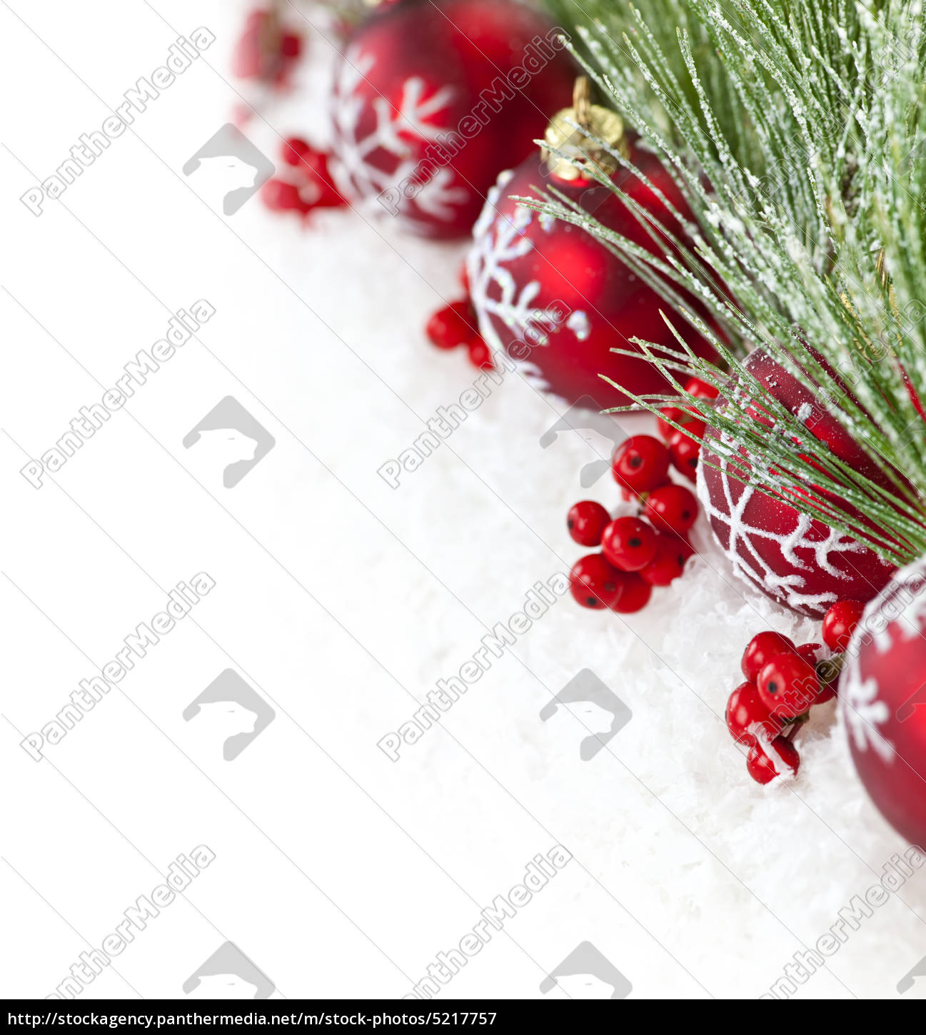 Stock Photo 5217757 Red Christmas Ornaments Border