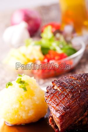 closeup of a bavarian roast pork