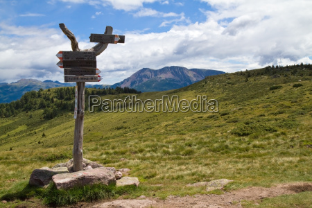 signpost in the mountains in south