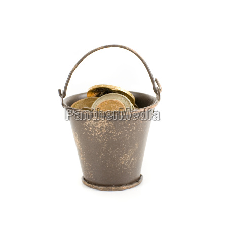 bucket full of coins