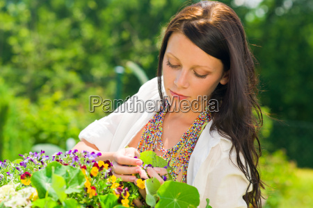summer garden beautiful woman care color