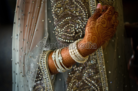 detail shot of henna on indian