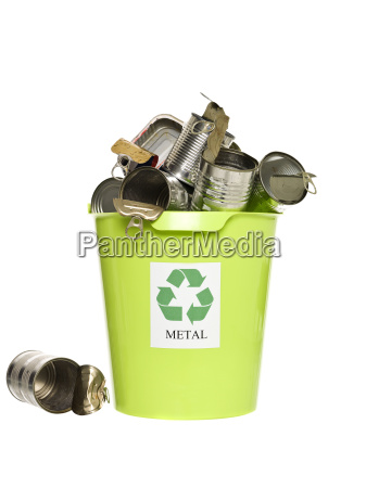 recycling bin with metal products