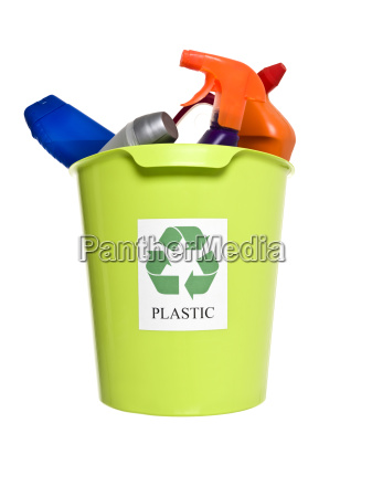 recycling bin with plastic products
