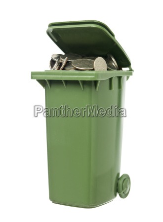 recycling bin with coins