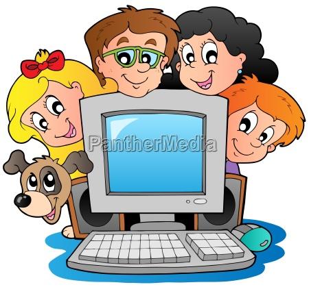 computer with cartoon kids and dog