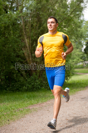 young man while running