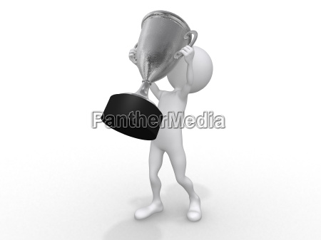 3d human with a silver trophy