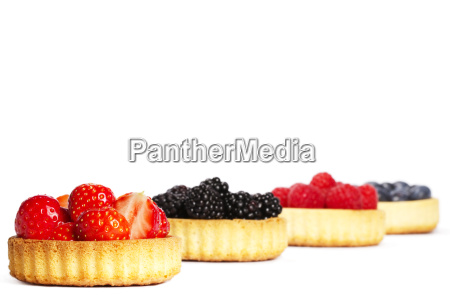 strawberry berries in tartlet cake in