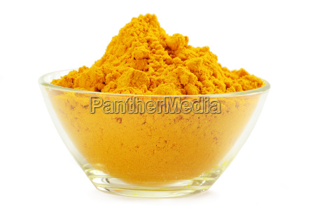 small dish with turmeric isolated on