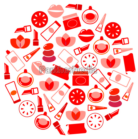 wellness and cosmetics icons circle isolated