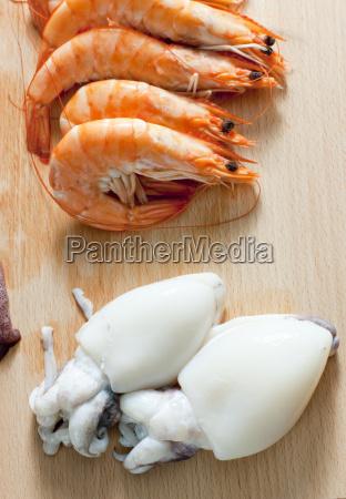 still life of raw seafood