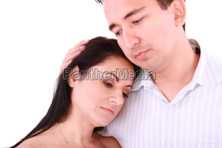 man comforts woman isolated on a