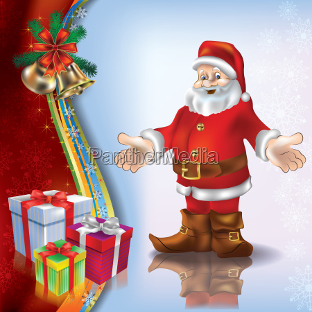 christmas blue greeting with santa and