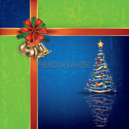 christmas blue greeting with handbells and