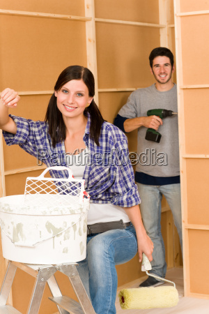 home improvement young couple fixing new