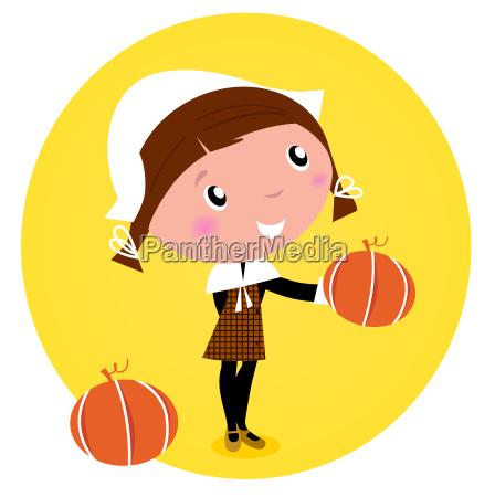 cute thanksgiving pilgrim girl with