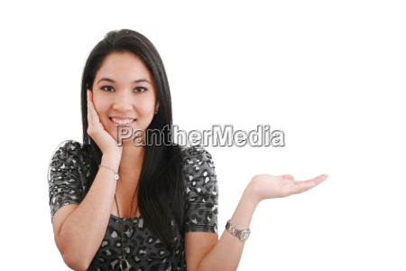 woman with her hand open to