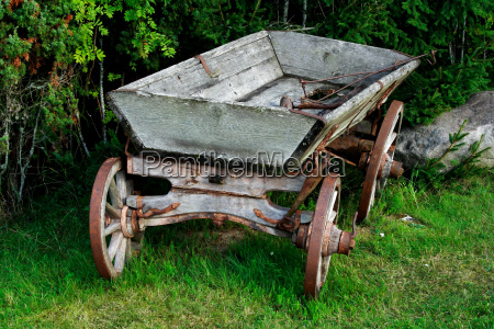 old and used wagon standing near