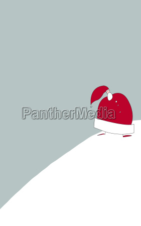 santa claus wanders in the snow