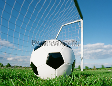football in the goal net