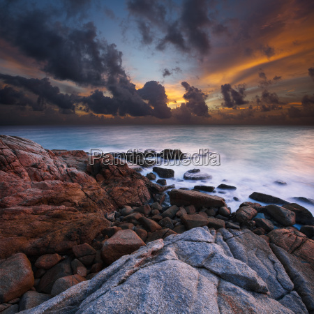 view of a rocky coast at
