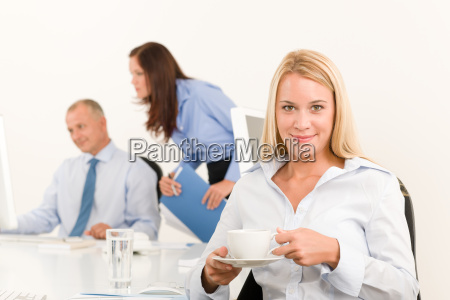 business team pretty businesswoman drink coffee