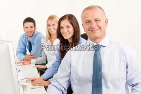 business team happy sit in line