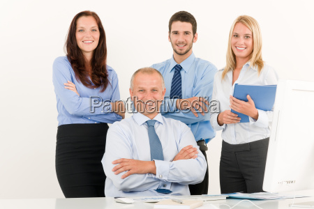 business team happy mature manager with