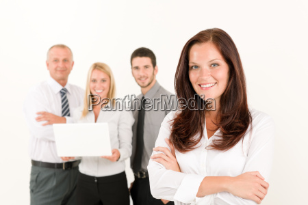business woman pretty with colleagues posing