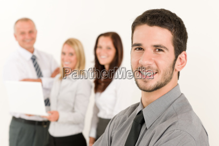 businessman handsome with colleagues in the