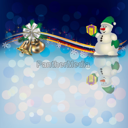 christmas background with snowman and bells