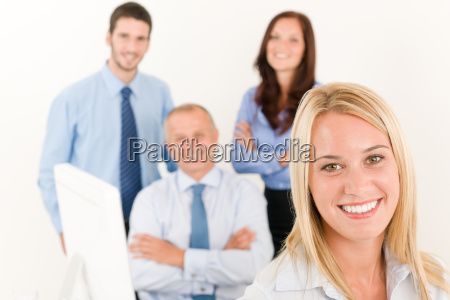 business, team, pretty, businesswoman, with, colleagues - 5416145