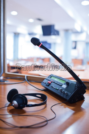 interpreting microphone and switchboard in
