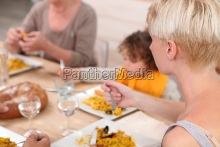 family eating a meal together