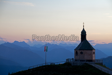 mountain chapel at wallenberg at sunset