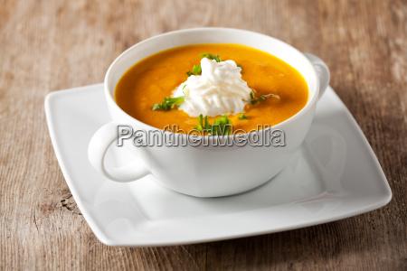 pumpkin soup in a soup cup