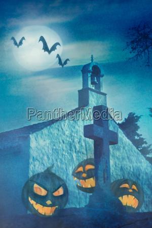 halloween illustration with evil pumpkins