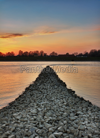 sunset at rhein river woerth germany