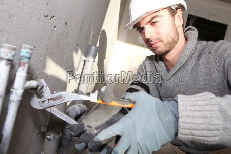 plumber on constructor site
