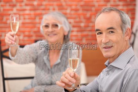 senior couple having a dinner in