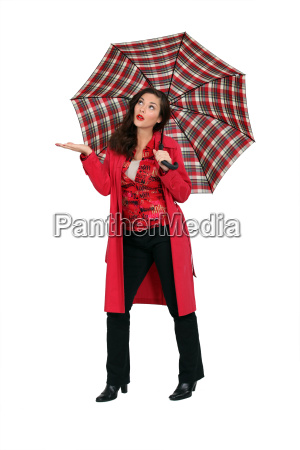 woman in red with a tartan