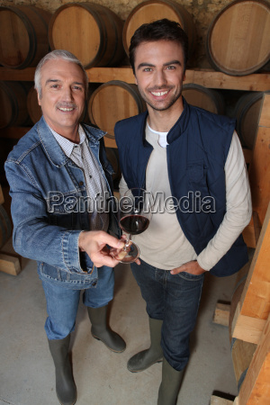 smiling, winegrowers, in, cellar - 5464714