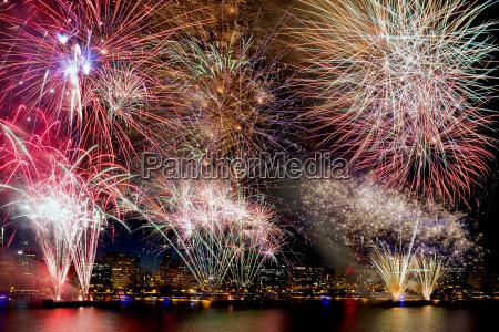 fireworks background with city skyline