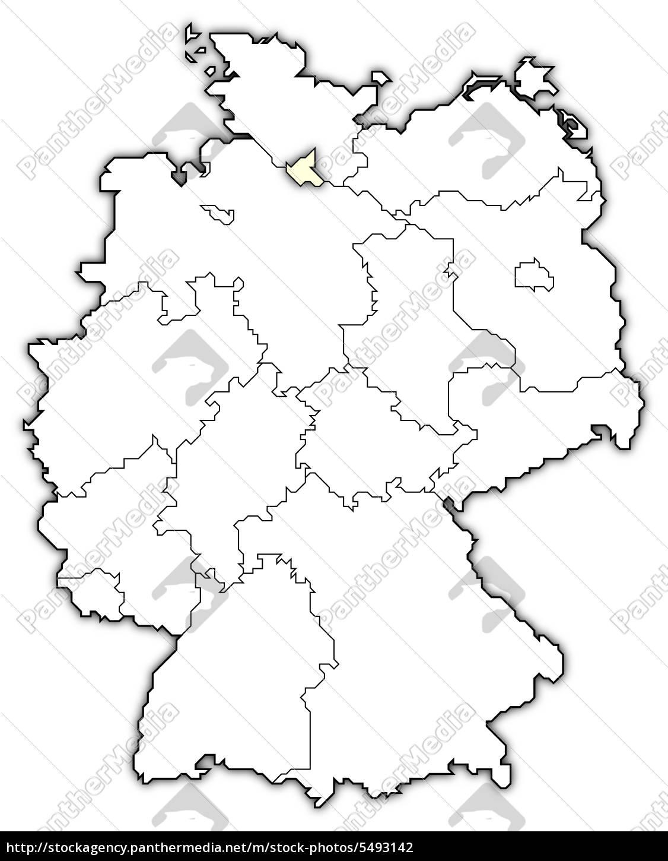 Map Of Germany Hamburg.Stock Image 5493142 Map Of Germany Hamburg Highlighted