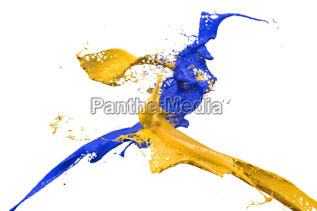 splashing color in blue and yellow