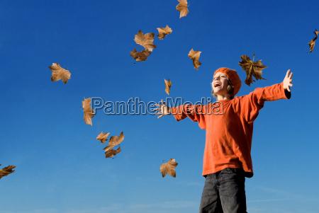 happy kid shouting or singing in