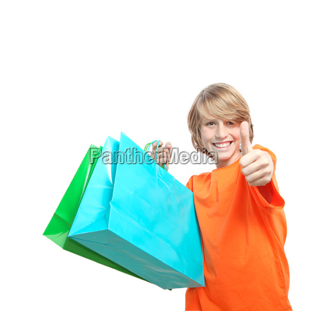 happy successful child shopper